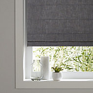 Soyo Corded Dark grey Woven Unlined Roman Blind (W)60cm (L)160cm