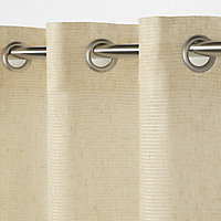 Fola Beige Horizontal stripe Unlined Eyelet Voile curtain (W)140cm (L)260cm, Single