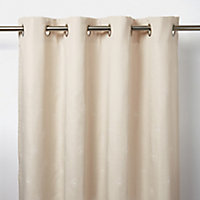 Melfi Beige Floral Unlined Eyelet Curtain (W)140cm (L)260cm, Single