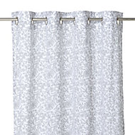 Galene Grey Floral Unlined Eyelet Voile curtain (W)140cm (L)260cm, Single