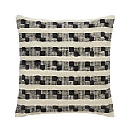 Udapur Rug stripe Black & white Cushion