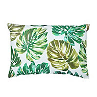 Agathe Palm leaf Green & white Cushion