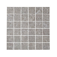 Soft lime stone Grey Stone effect Porcelain Mosaic tile, (L)300mm (W)300mm
