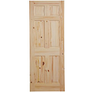 6 Panel Knotty pine Internal Door, (H)1981mm (W)762mm