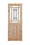 2 panel Patterned Glazed Knotty pine LH & RH Internal Door, (H)2032mm (W)813mm