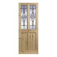 4 panel Patterned Frosted Glazed Knotty pine LH & RH Internal Door, (H)1981mm (W)762mm