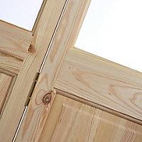 4 panel 2 Lite Frosted Glazed Knotty pine Internal Bi-fold Door set, (H)1946mm (W)675mm