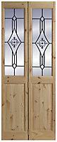 4 panel 2 Lite Frosted Glazed Knotty pine Internal Bi-fold Door set, (H)2005mm (W)715mm