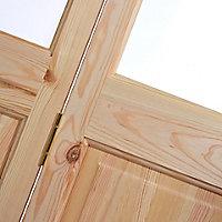 4 panel 2 Lite Frosted Glazed Knotty pine Internal Bi-fold Door set, (H)2005mm (W)815mm