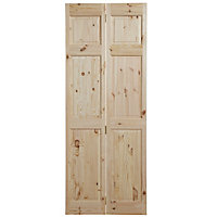 6 panel Knotty pine Internal Bi-fold Door set, (H)1945mm (W)675mm