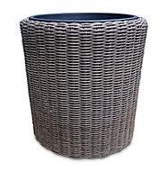 Soron Brown Rattan effect Plastic Plant pot (Dia)25cm