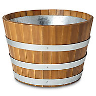 Denia Brown Round Planter with Zinc plant pot