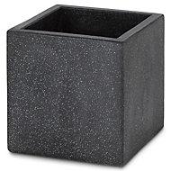 Hoa Square Dark grey Pot (H)300mm (L)300mm