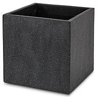 Hoa Square Dark grey Pot (H)400mm (L)400mm