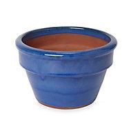 Tiwlip Round Glazed Blue Pot (H)140mm (Dia)230mm