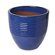 Tiwlip Blue Ceramic Ribbed Plant pot (Dia)33cm