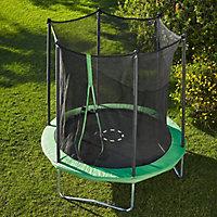 Green 8 ft Trampoline & enclosure