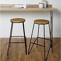 Maloux Black Bar stool (H)710mm (W)400mm