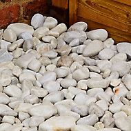 Blooma White 40-90mm Stone Pebbles, 22.5kg Bag