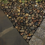 Blooma Multicolour 30mm Stone Scottish pebbles, 22.5kg Bag