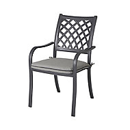 Carambole Dark grey Metal Dining Armchair
