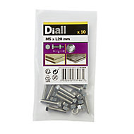 M5 Hex Bolt & nut (L)20mm, Pack of 10