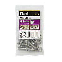 M6 Hex Bolt & nut (L)20mm, Pack of 10