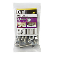 M8 Hex Bolt & nut (L)30mm, Pack of 10