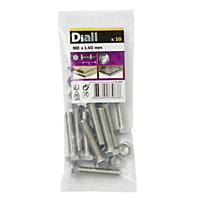 M8 Hex bolt & nut (L) 40mm, Pack of 10
