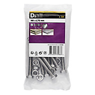 M8 Hex Bolt & nut (L)70mm, Pack of 10