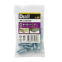 Diall M6 Carbon steel Countersunk Machine screw & nut (L)20mm, Pack of 20