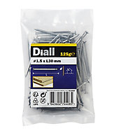 Diall Round wire nail (L)30mm (Dia)1.5mm 120g, Pack