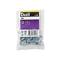 Diall M8 Carbon steel Hex Nut, Pack of 20