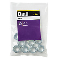 Diall M20 Carbon steel Lock Nut, Pack of 10