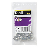 Diall M8 Stainless steel Lock Nut, Pack of 10