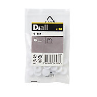 Diall White Snap cap, Pack of 20