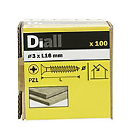 Diall Yellow zinc-plated Carbon steel Wood Screw (Dia)3mm (L)16mm, Pack of 100