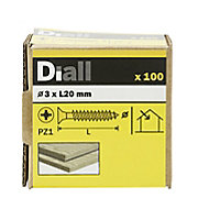 Diall Yellow zinc-plated Carbon steel Wood Screw (Dia)3mm (L)20mm, Pack of 100