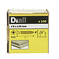 Diall Yellow zinc-plated Carbon steel Wood Screw (Dia)5mm (L)20mm, Pack of 100