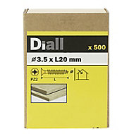 Diall Yellow zinc-plated Carbon steel Wood Screw (Dia)3.5mm (L)20mm, Pack of 500