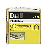 Diall Yellow zinc-plated Carbon steel Wood Screw (Dia)3mm (L)25mm, Pack of 100