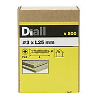 Diall Yellow zinc-plated Carbon steel Wood Screw (Dia)3mm (L)25mm, Pack of 500