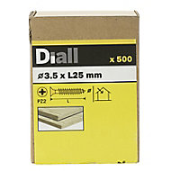 Diall Yellow zinc-plated Carbon steel Wood Screw (Dia)3.5mm (L)25mm, Pack of 500