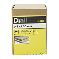 Diall Yellow zinc-plated Carbon steel Wood Screw (Dia)4mm (L)30mm, Pack of 500