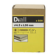 Diall Yellow zinc-plated Carbon steel Wood Screw (Dia)4.5mm (L)30mm, Pack of 500