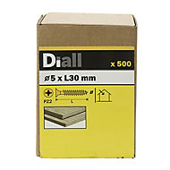 Diall Yellow zinc-plated Carbon steel Wood Screw (Dia)5mm (L)30mm, Pack of 500