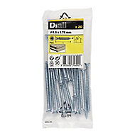 Diall Zinc-plated Carbon steel Wood Screw (Dia)4.5mm (L)70mm, Pack of 20