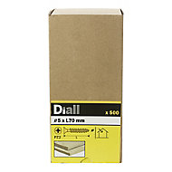 Diall Yellow zinc-plated Carbon steel Wood Screw (Dia)5mm (L)70mm, Pack of 500