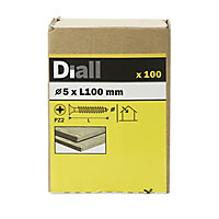 Diall Yellow zinc-plated Carbon steel Wood Screw (Dia)5mm (L)100mm, Pack of 100