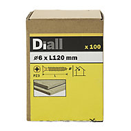Diall Yellow zinc-plated Carbon steel Wood Screw (Dia)6mm (L)120mm, Pack of 100